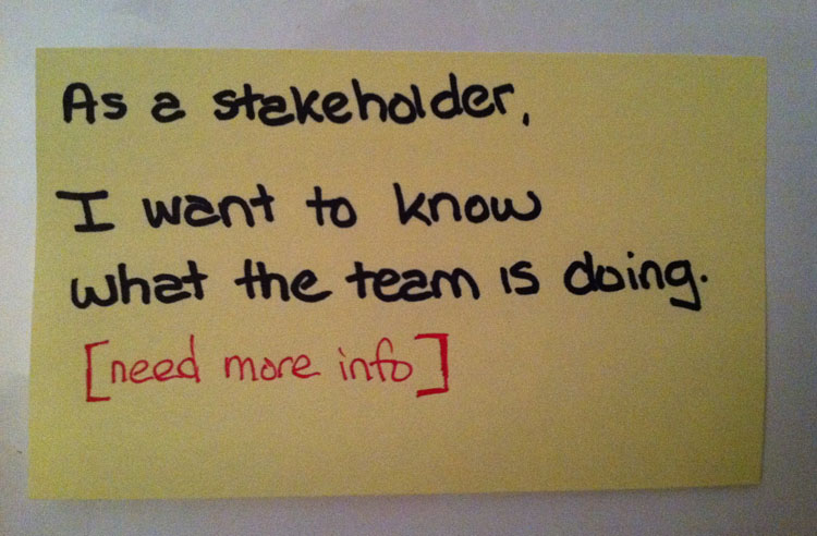 As a stakeholder, I want to know what the team is doing.